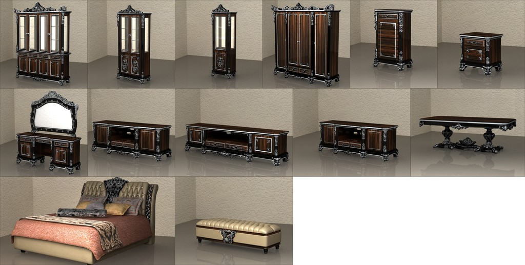 3d模型 室内设计3d模型 单体模型 > 短电视柜梳妆台梳妆镜酒柜床头柜