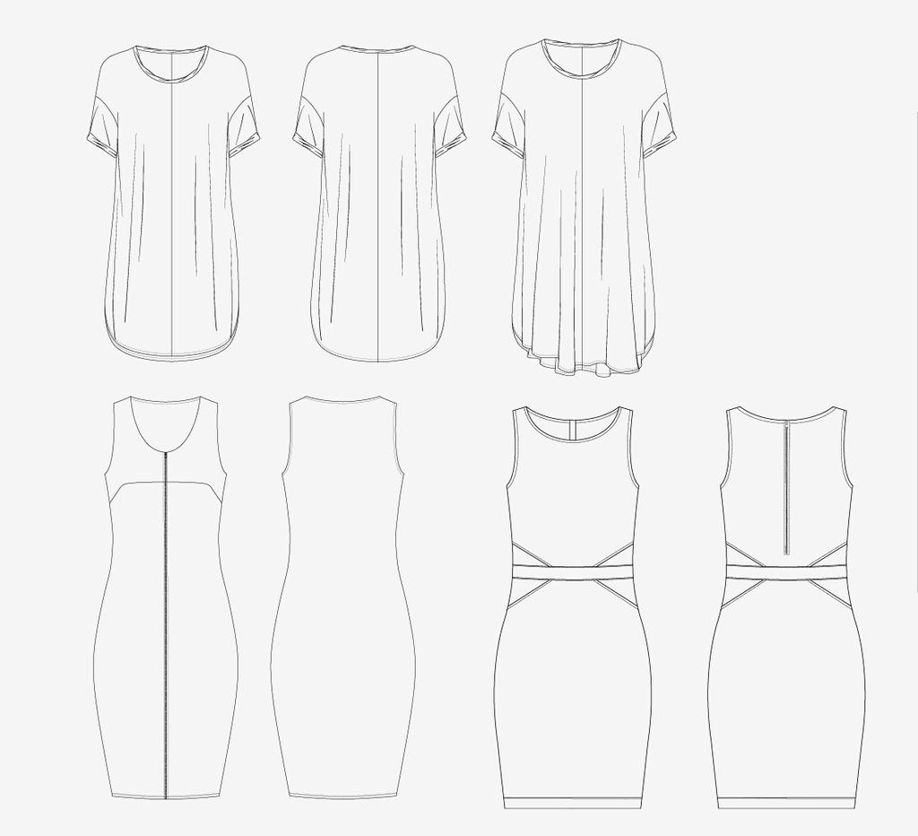 裙子设计 > 服装设计连衣裙模板手绘ai格式