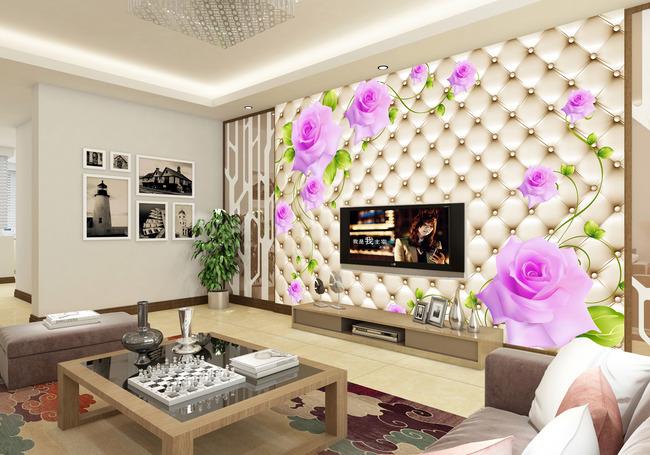 玫瑰3d软包电视背景墙装饰画