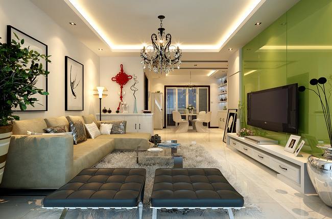 现代风格客厅装修3d整套模型下载图片下载