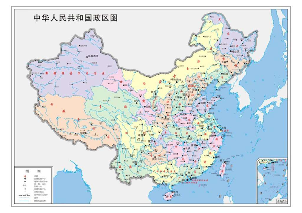 中国地图底图中国我大中国大天朝模板下载