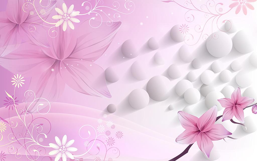 3d立体壁画粉色花纹