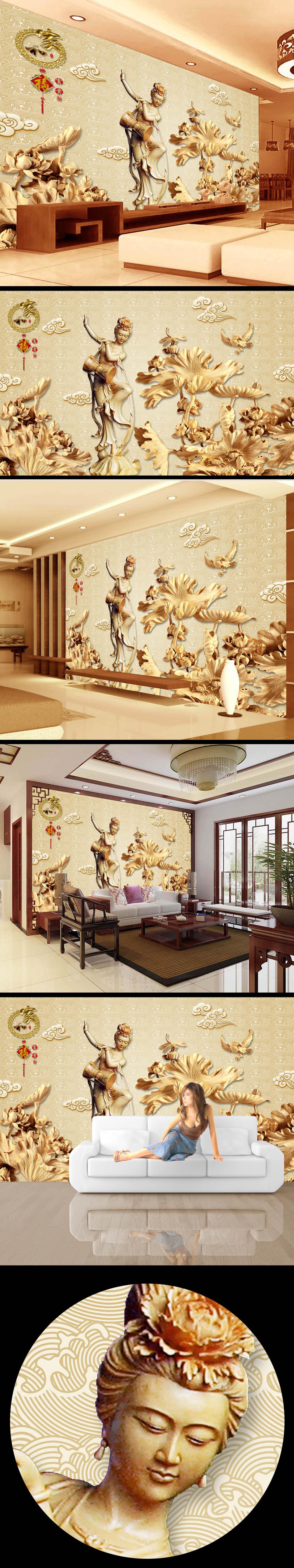 雕刻 雕塑 木雕 电视墙 国画 中国画 3d立体 电视背景墙 荷叶 沙发背
