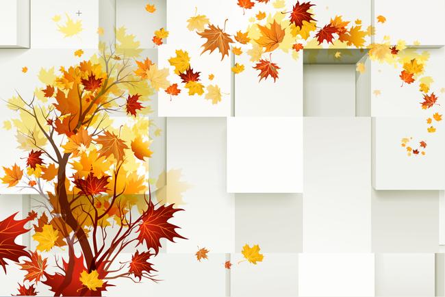 枫叶3d电视背景墙壁画