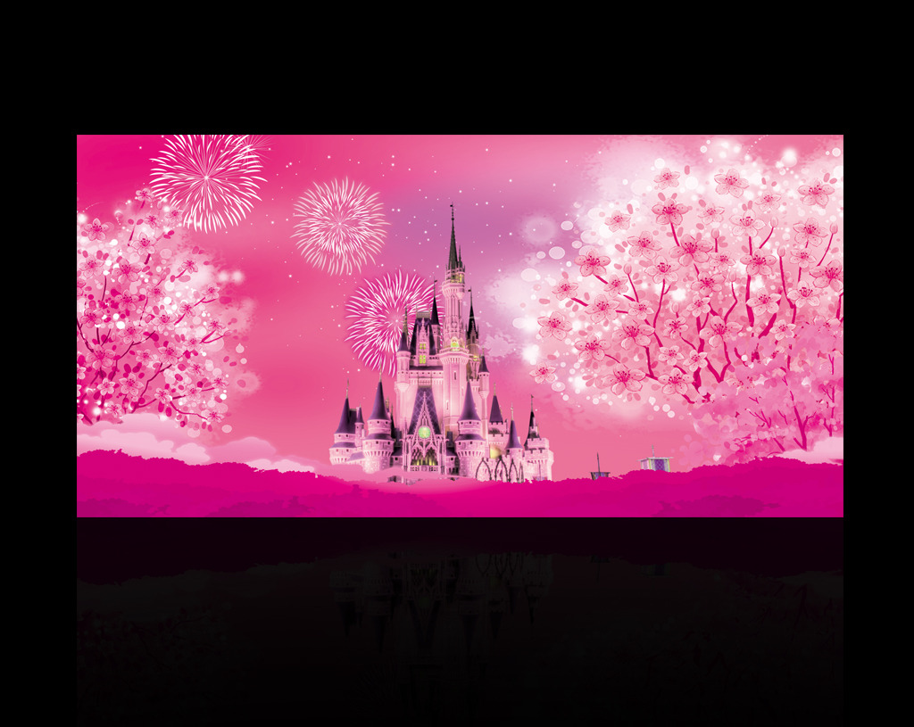 紫色浪漫城堡婚礼舞台背景喷绘设计源文件模板