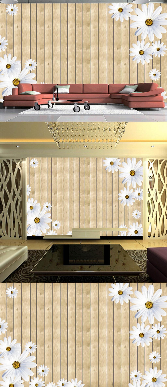 白色雏菊木墙背景墙菊花