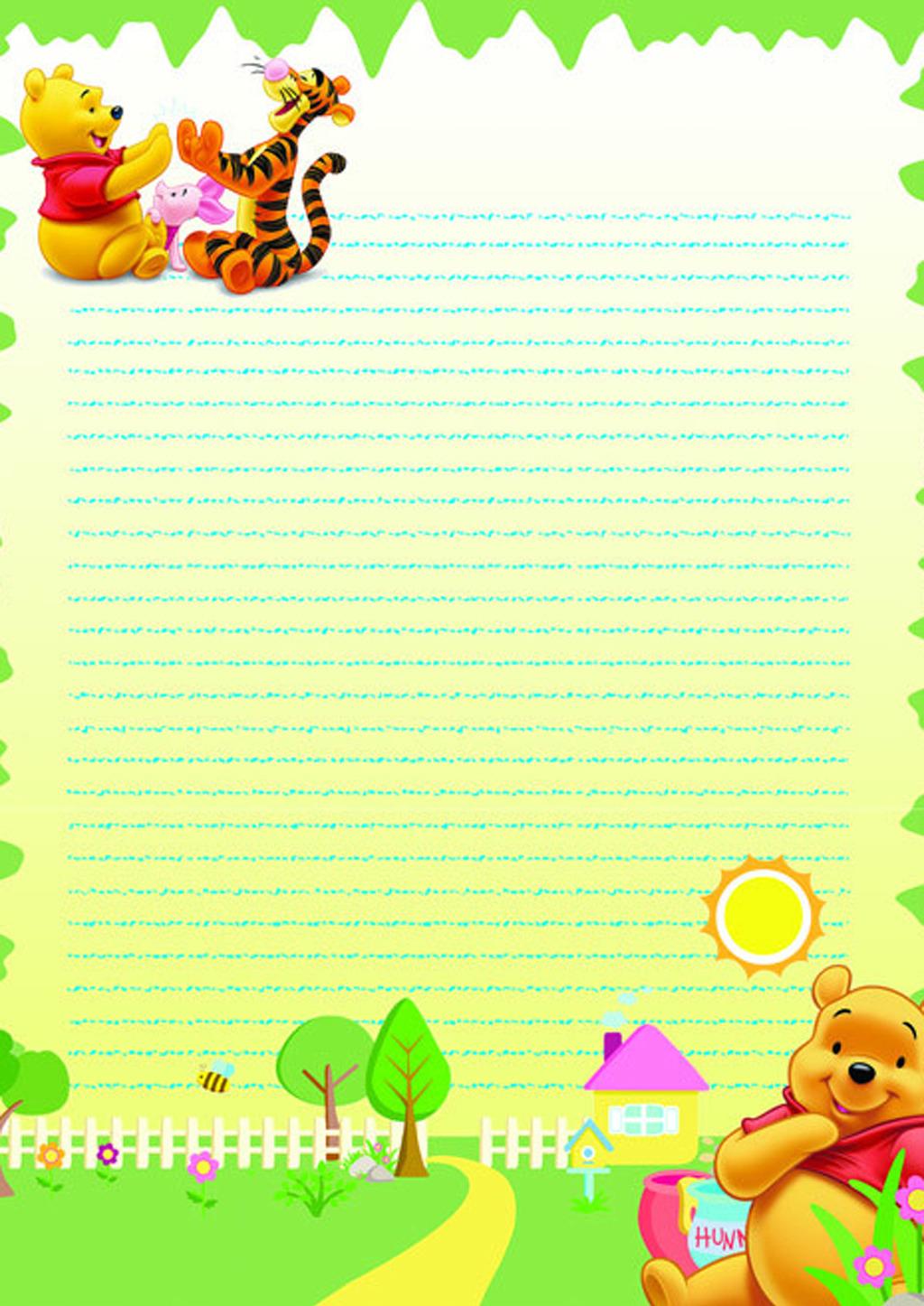 卡通维尼熊信纸模板下载