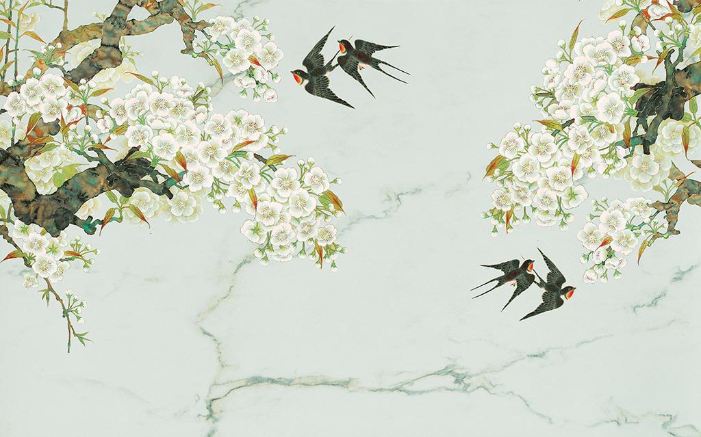 花鸟图燕子中式电视背景墙高清图片下载(图片编号)墙
