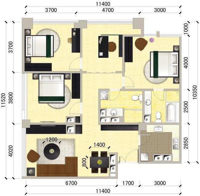 三室两厅彩色平面图房地产装修平面图