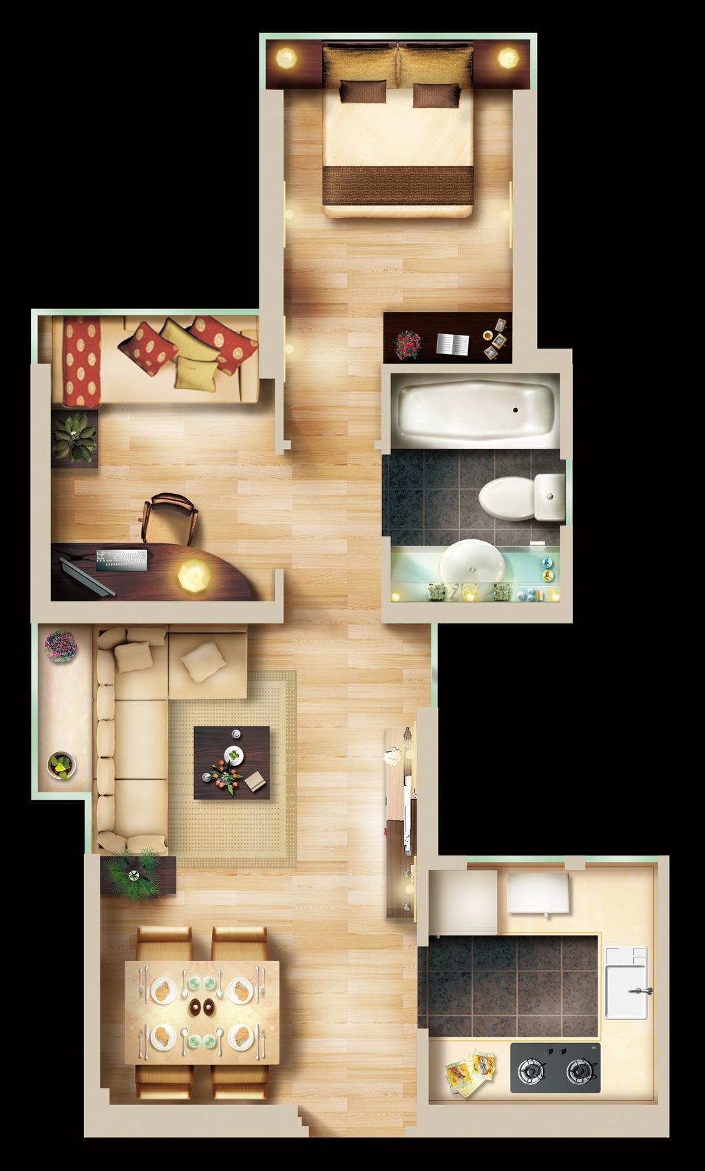 两室两厅psd户型图彩色平面图下载
