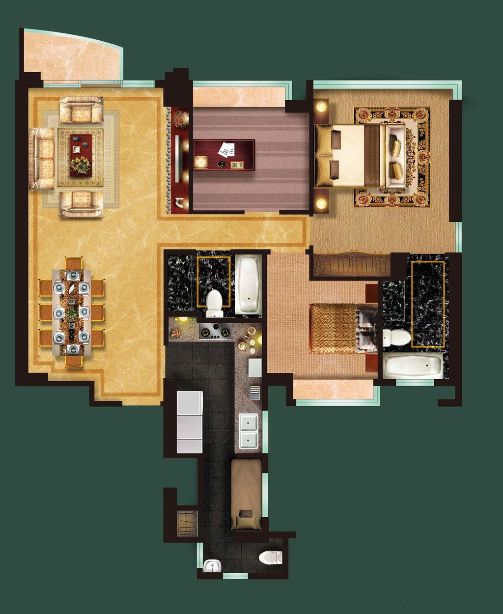 主卧 客厅平面效果图 室内平面效果图 户型 psd户型图 家装平面效果图