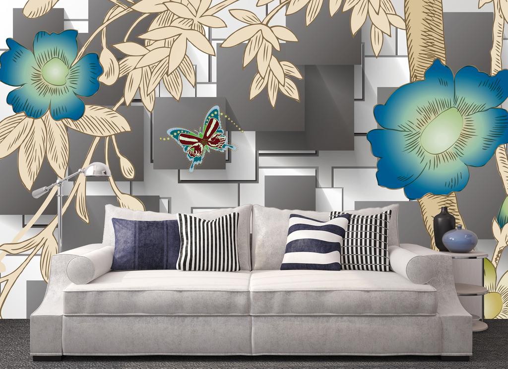 手绘蝴蝶花藤3d方块创意背景墙