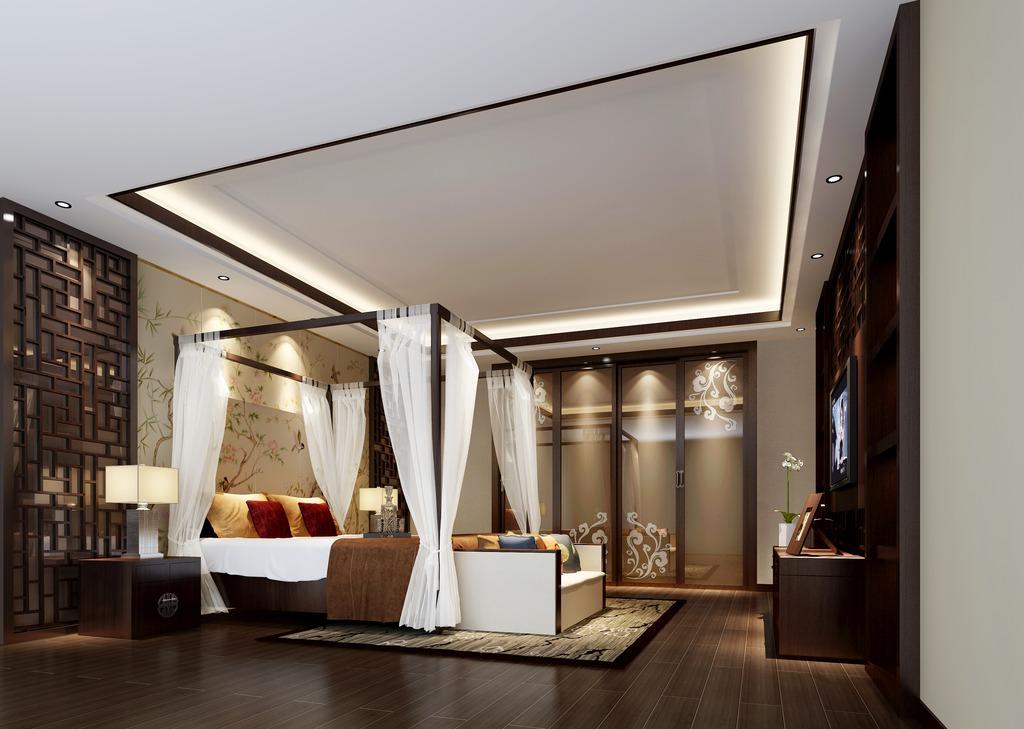 卧室模型3dmax素材中式风格图片下载图片
