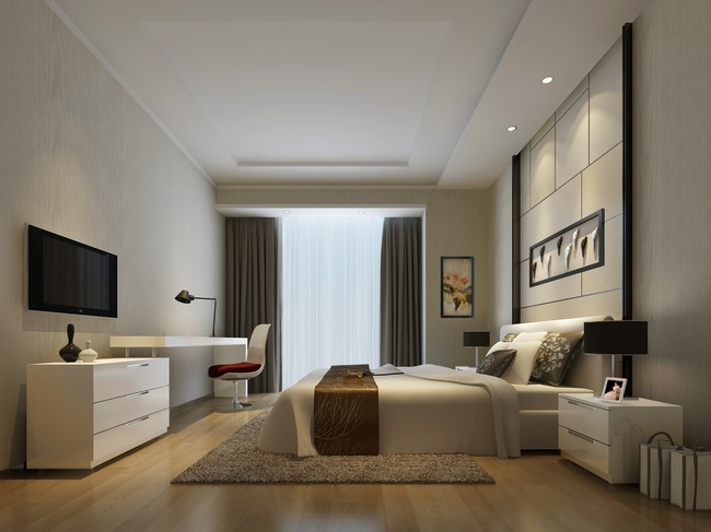 卧室模型3dmax素材现代简约风格图片下载 石膏板吊平顶原木色地板白
