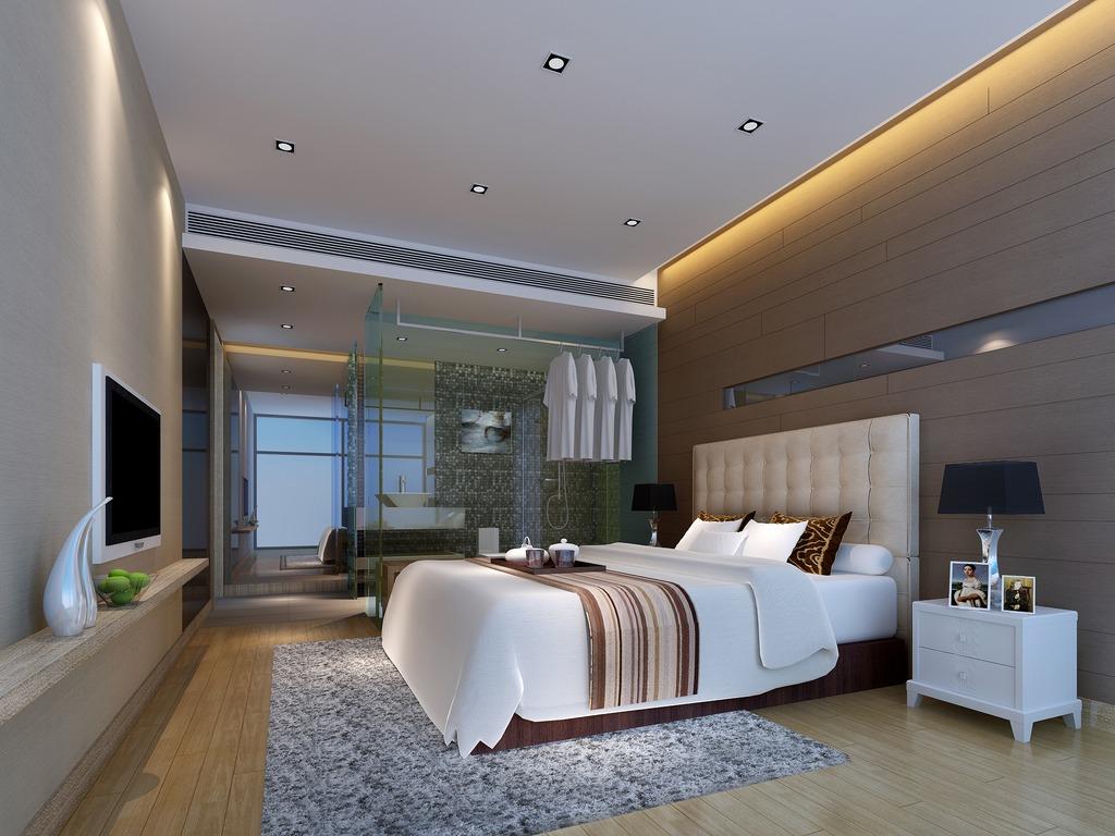 3dmax现代风格卧室模型素材冷色调图片