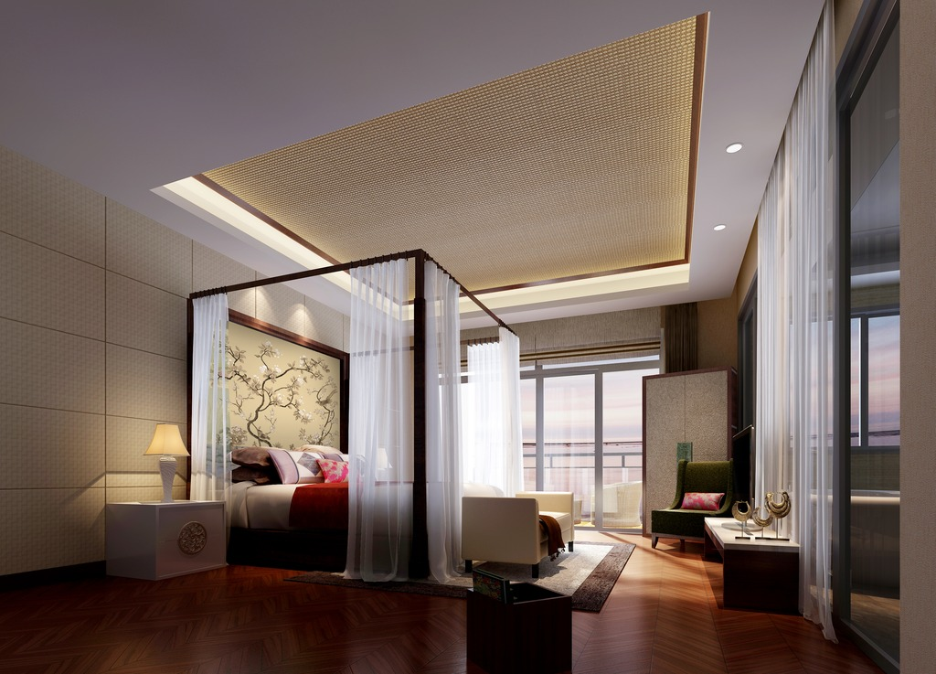 3dmax中式风格卧室模型温馨色调图片