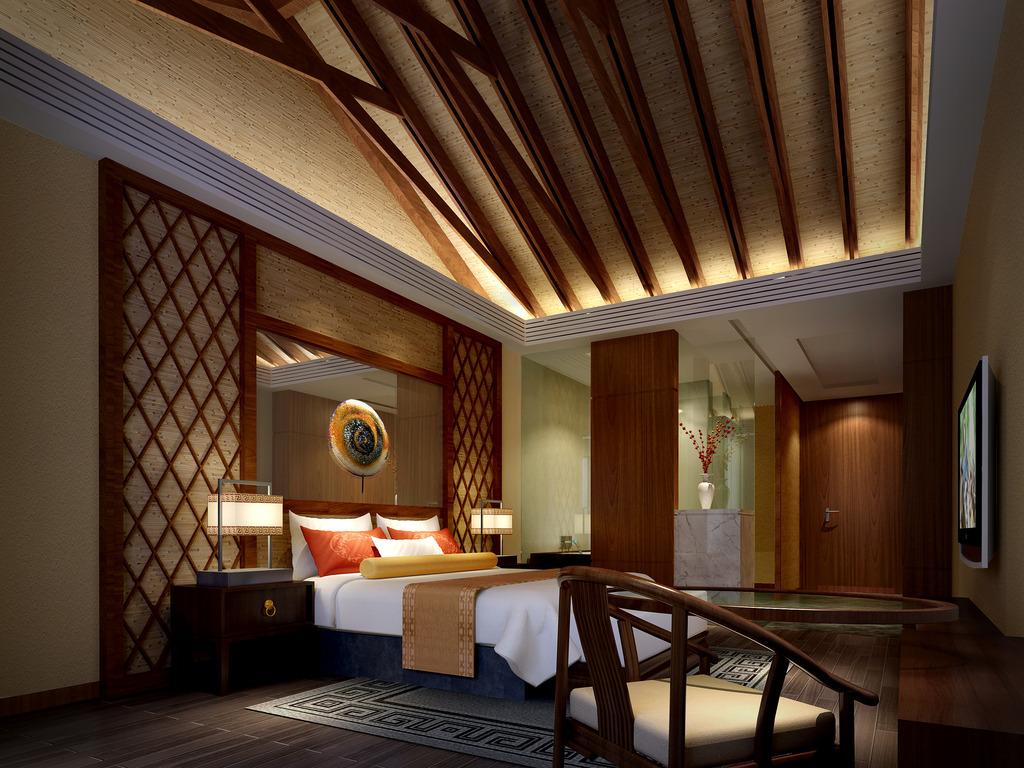 3dmax中式风格卧室模型暖色调图片
