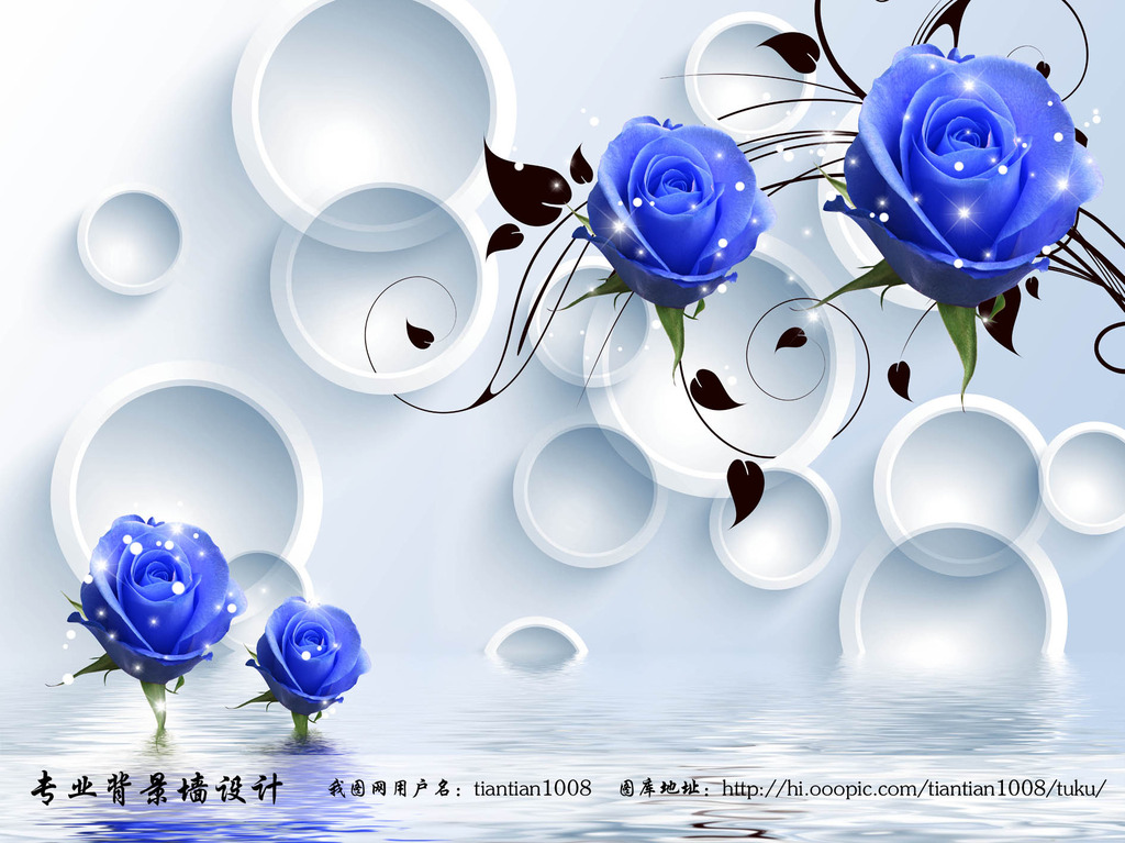 3d立体蓝玫瑰倒影电视背景墙