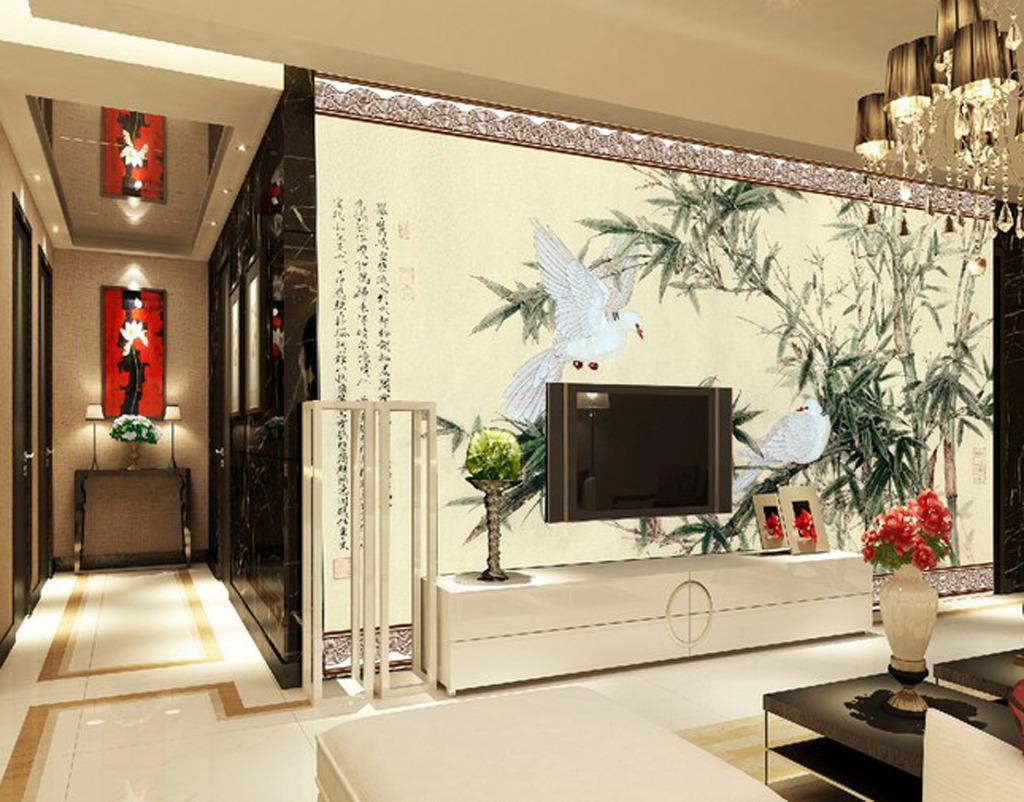客厅电视背景墙丹顶鹤图片