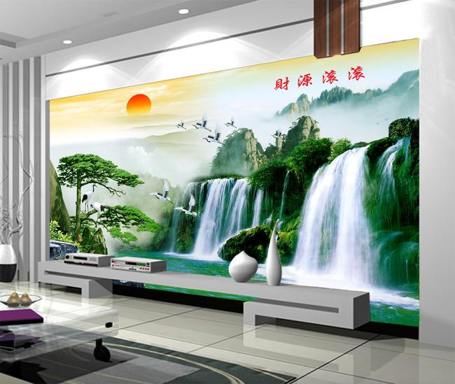 电视背景墙迎客松山水画装饰画