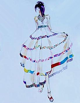 简洁 时尚 大方服装设计手稿 服装款式图        服装图片 晚礼服效果