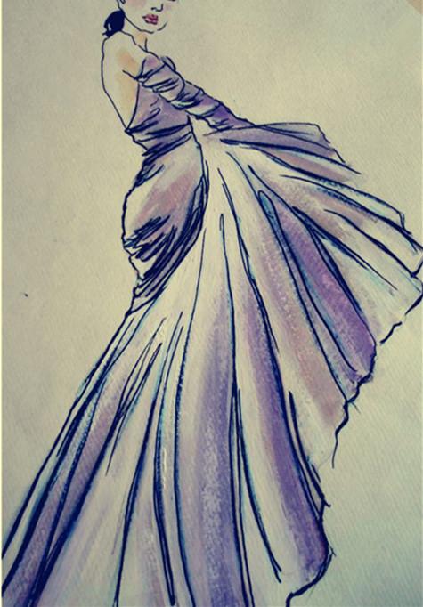 简洁 时尚 大方 服装设计手稿 服装款式图        服装图片 晚礼服