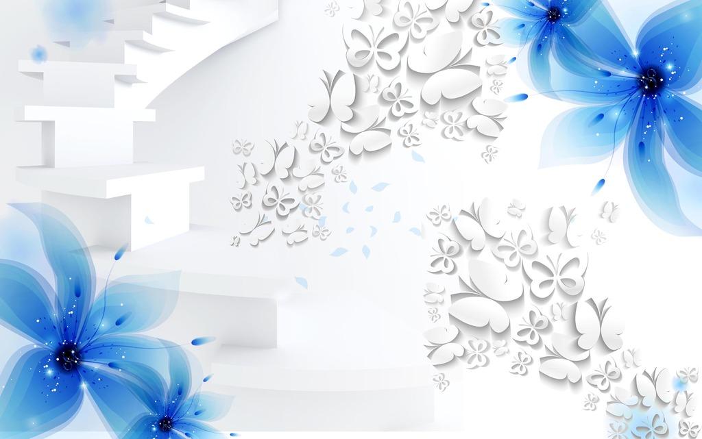 3d梦幻花卉背景墙模版