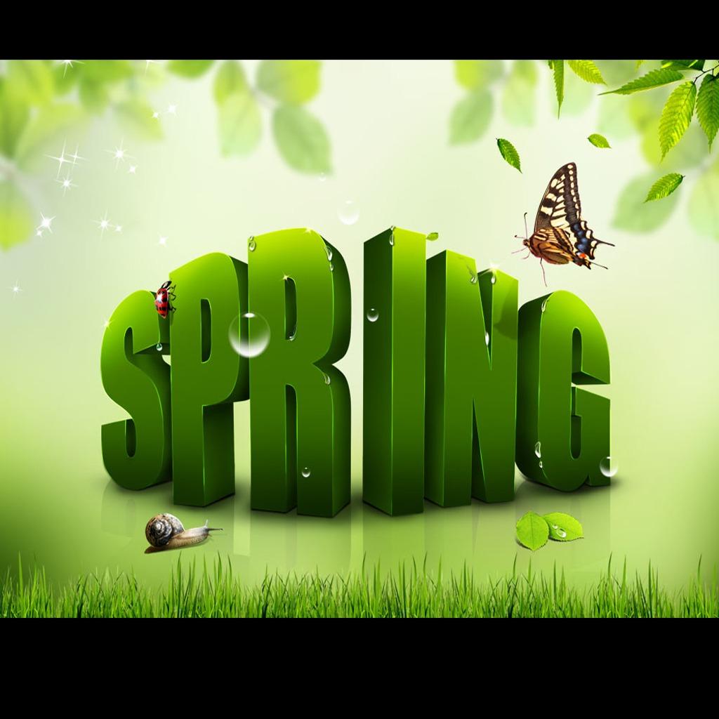 环保行业绿色英文立体字蝴蝶绿叶唯美海报图片