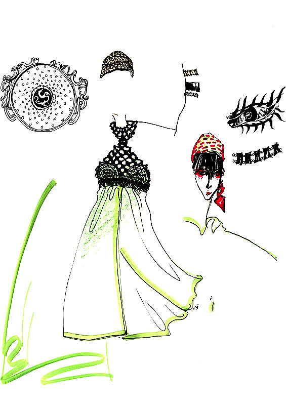 服装设计手稿 服装款式图        服装图片 晚礼服效果图 裙子设计图