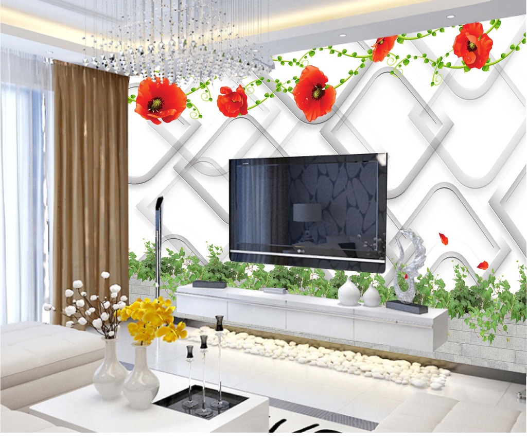 3d花卉背景墙模版
