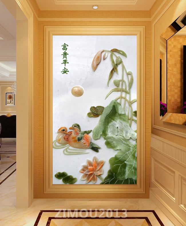 浮雕装饰画 客厅装饰背景 装饰背景图 玉石浮雕 国画 古典 玄关 门厅