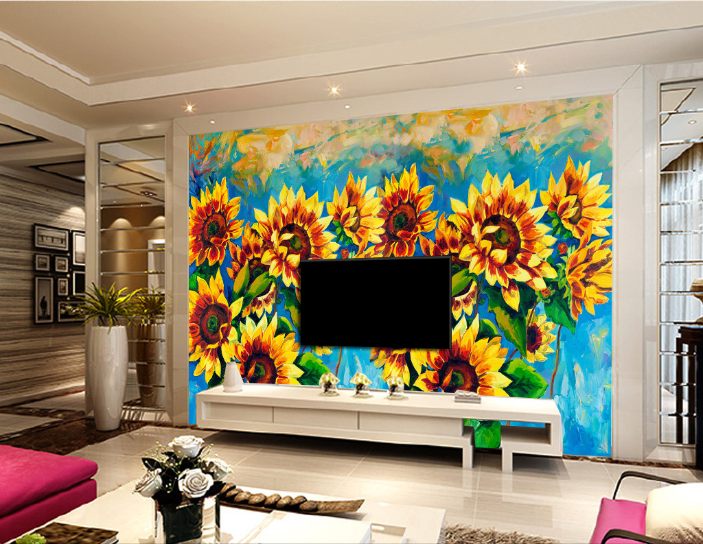 手绘油画向日葵电视背景墙