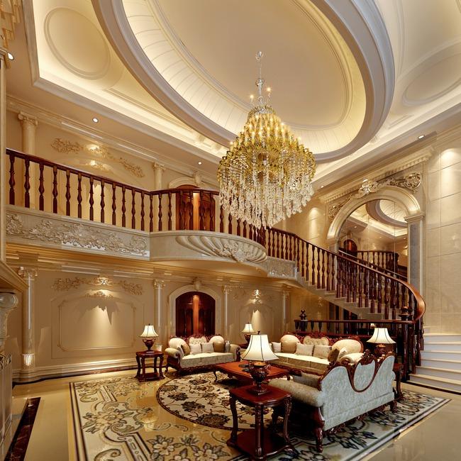 客厅3dmax欧式别墅暖色调