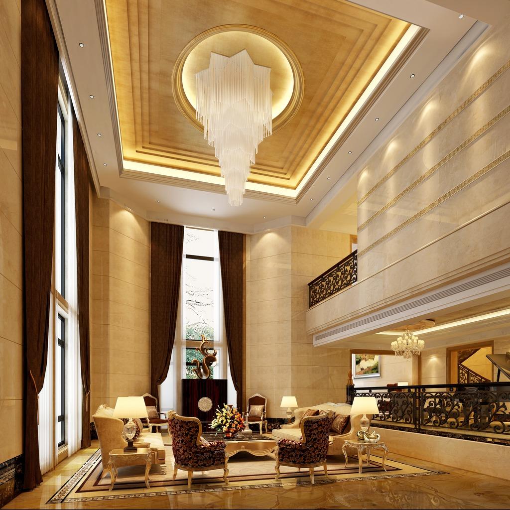 3dmax欧式挑空大客厅模型素材图片