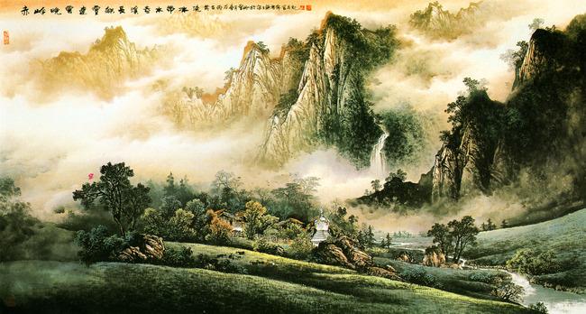 松树 杂树 瀑布 流水 屋宇 院落 古典 国画 工笔 山水 高清古画 绘画图片