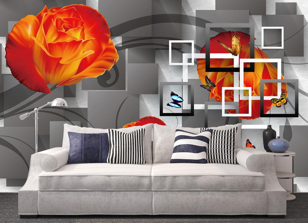 背景墙|装饰画 电视背景墙 手绘电视背景墙 > 玫瑰蝴蝶手绘3d方块创