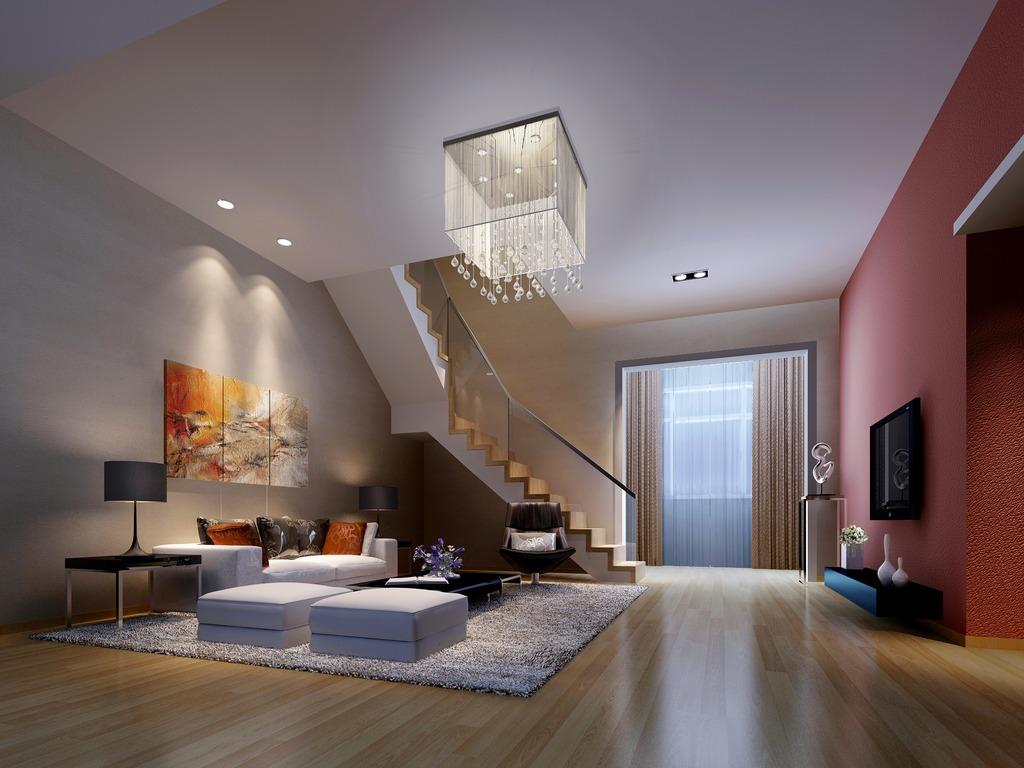 石膏板吊平顶浅色木地板粉红色电视背景墙