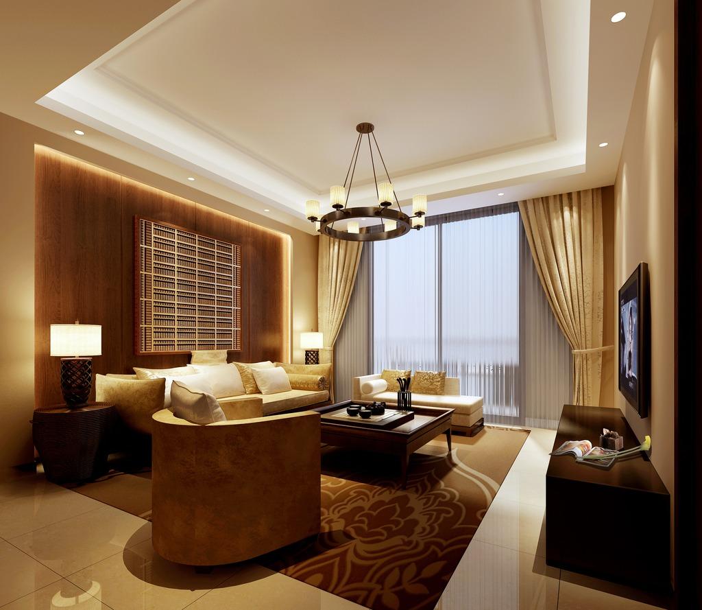 3dmax中式风格客厅暖色调图片下载图片