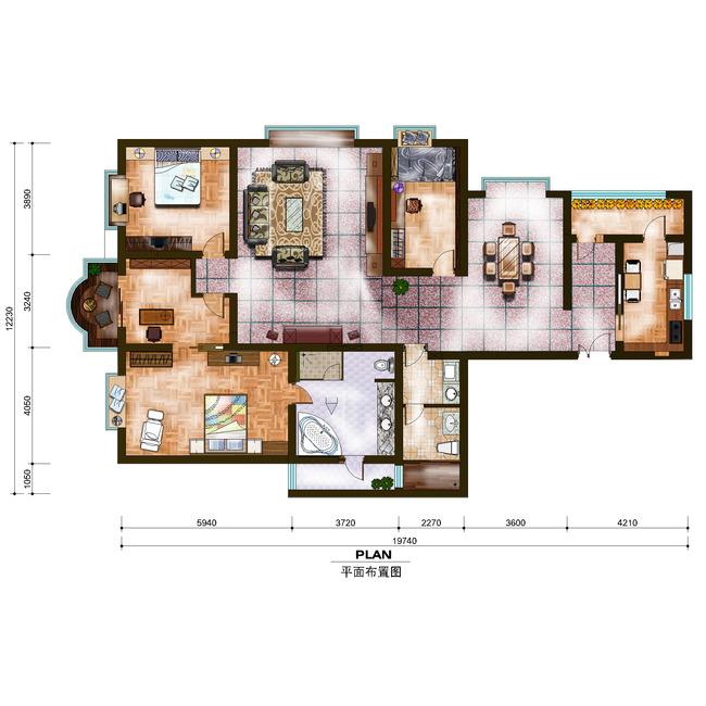 psd格式平面布置家居户型图