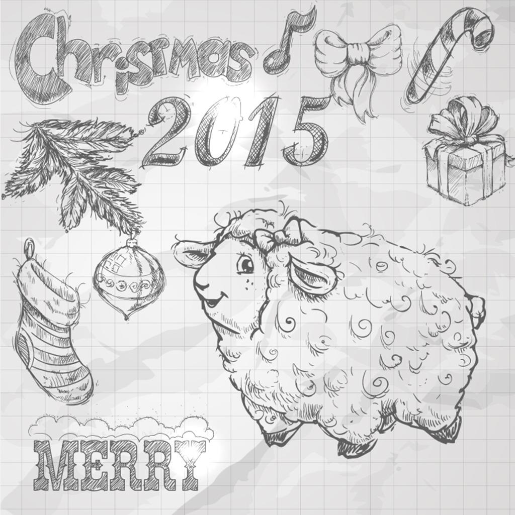 圣诞节羊年手绘海报矢量图元素手绘矢量素材