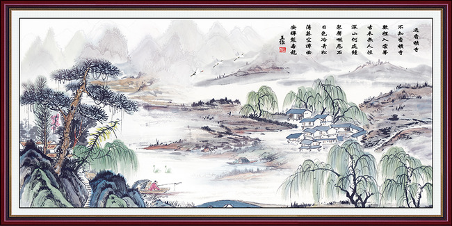 江南风景山水水墨画