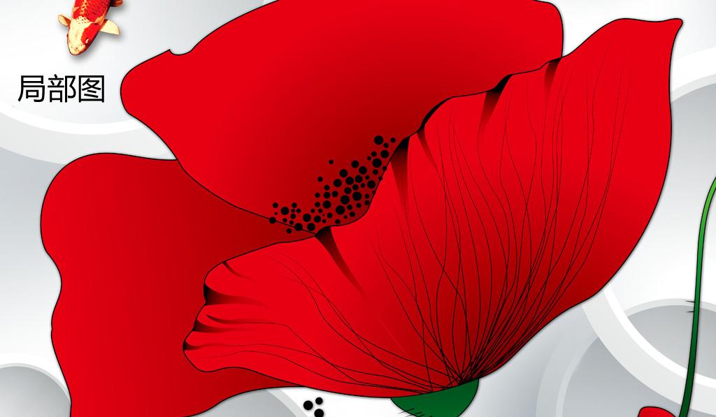 高清手绘梦幻花朵时尚3d玄关背景