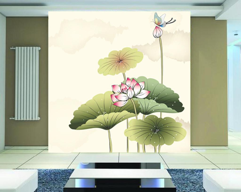 木雕玄关 玄关背景 玄关素材 中国画 中国风玄关 工笔画 蜻蜓 荷花