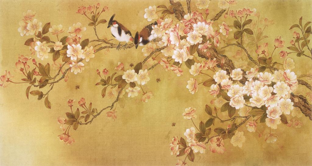 中式协议花鸟唯美玄关背景墙图片下载