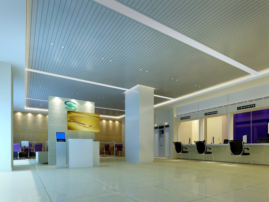 3dmax办公大厅空间暖色图片下载图片