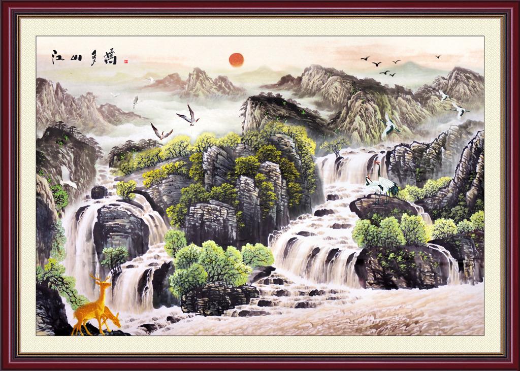 山河锦绣风水画装饰画图片江山多娇