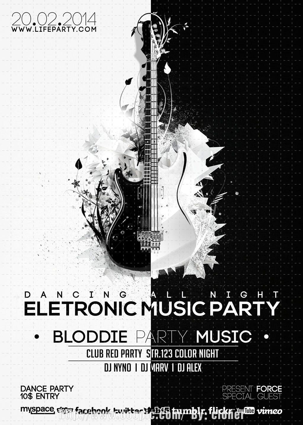 黑白背景音乐海报设计