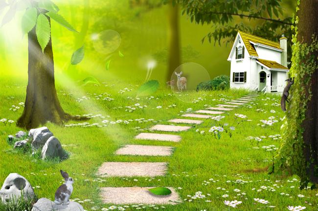 绿色卡通小树林背景墙