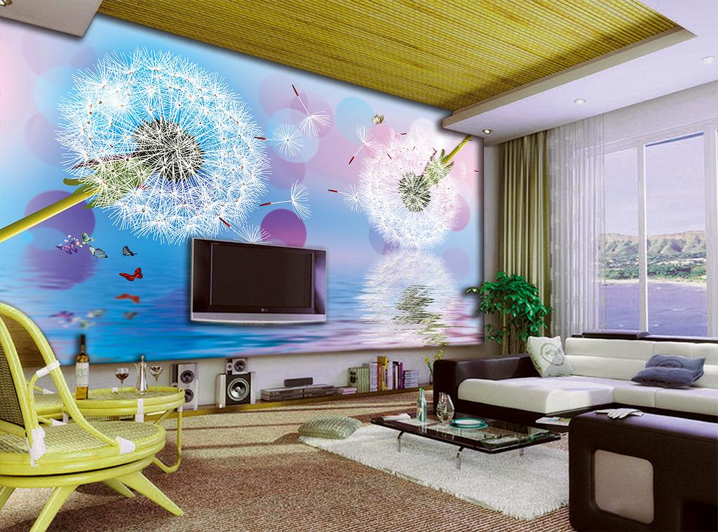 蒲公英蓝色背景电视背景墙