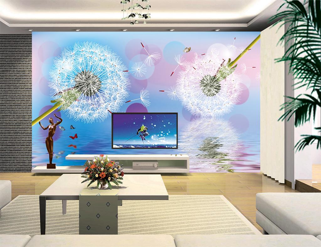 蒲公英硅藻泥电视背景墙